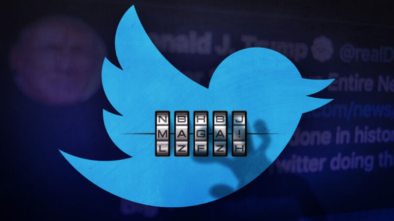 Illustration that includes a Twitter logo, President Trump's Twitter account, and a password that reads